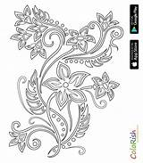 Coloring Crochet Flowers Motif Irish sketch template