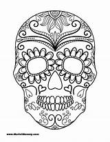 Coloring Halloween Pages Sugar Skull sketch template