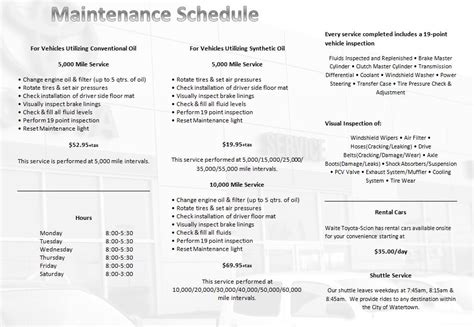 Toyota Service Schedule by Toyota Factory Recommended Maintenance Schedule