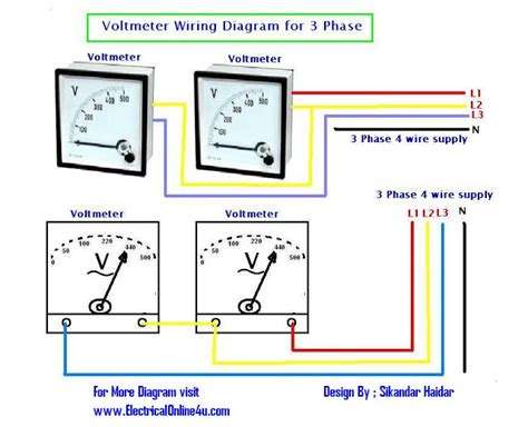 how to wire voltmeters for 3 phase voltage measuring electrical online 4u