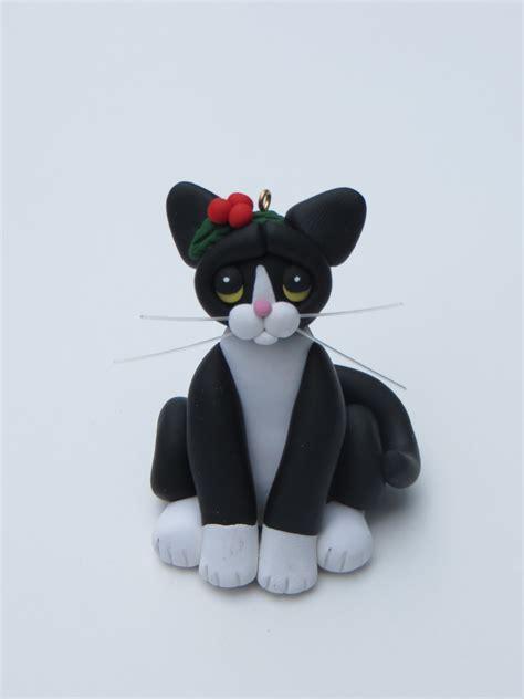 tuxedo cat christmas ornament polymer clay