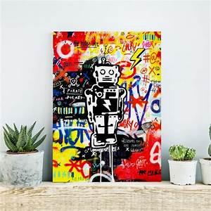 Toile Street Art : tableau robot tag graffiti angry toile 60x40cm made in france ~ Teatrodelosmanantiales.com Idées de Décoration