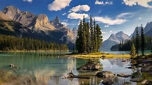 spirit, island, maligne, lake, canada, mountains, hd, wallpaper
