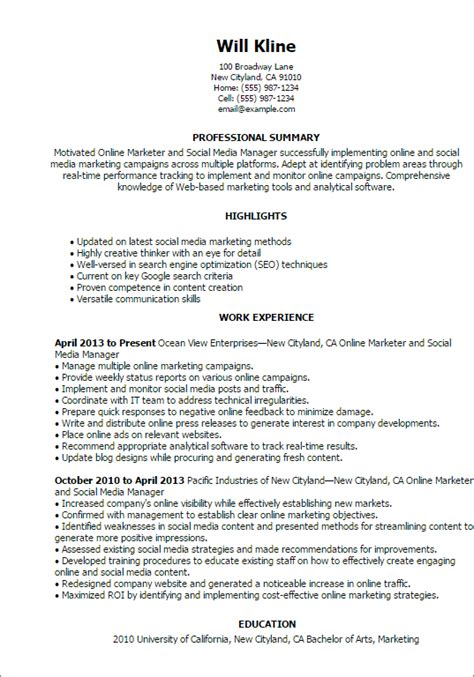 marketer and social media resume template best