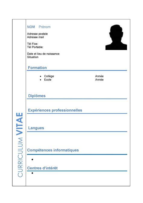 Comment Préparer Un Cv by Resume Format Modele De Cv Vierge A Imprimer