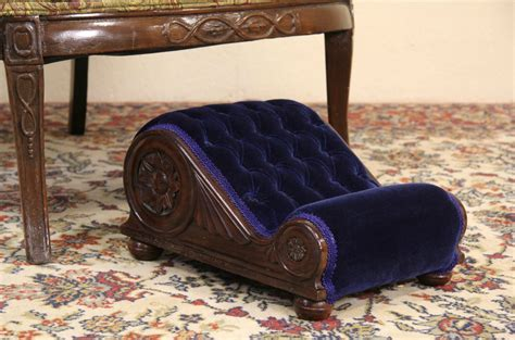 SOLD   Gout Footstool, 1900 Antique Mahogany & Velvet