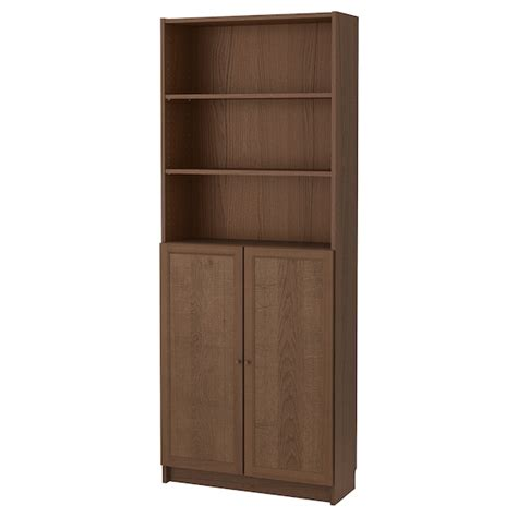 Doors For Billy Bookcases by Billy Oxberg Bookcase With Doors Brown Ash Veneer Ikea