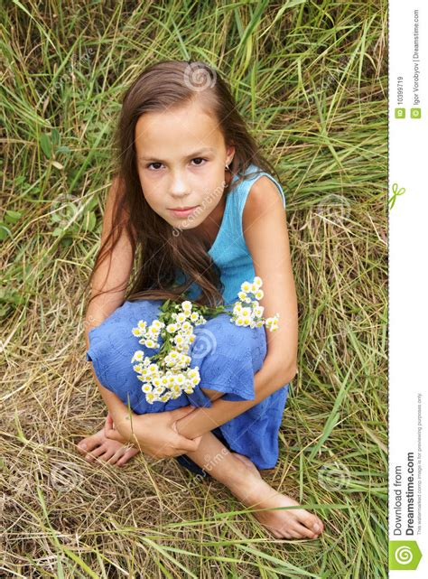 Preteen Girl On Grass Background Royalty Free Stock Images Image 10399719