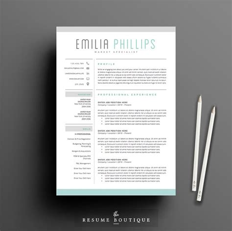 Cool Resume Formats by Resume Template 4 Page Pack Aqua Resume Templates