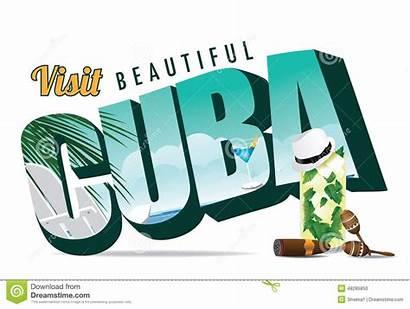 Cuba Illustration Postcard Vector Retro Eps Typography