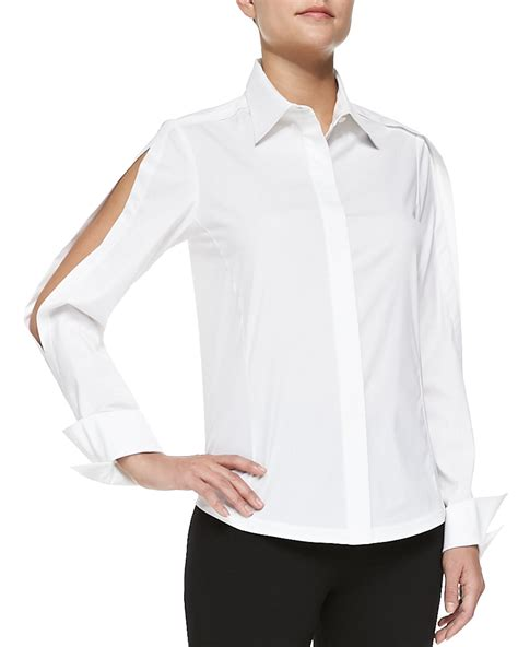 open blouses donna karan york open sleeve poplin blouse in white lyst