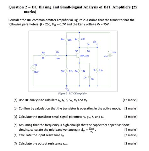 Solved Question Biasing Small Signal Analysis