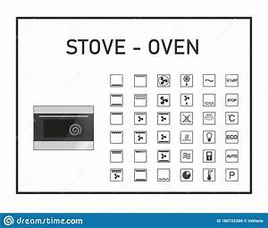 Oven Manual Icon Set  Instructions Symbols  Stove