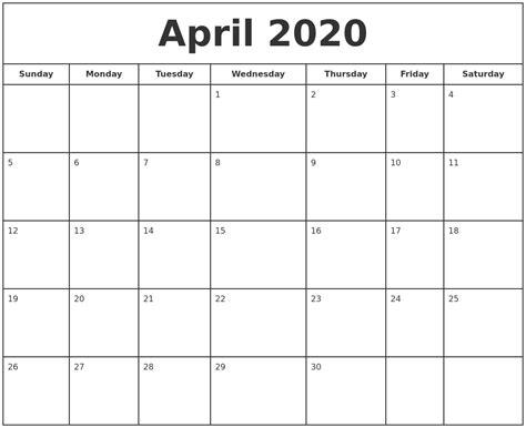 april print calendar