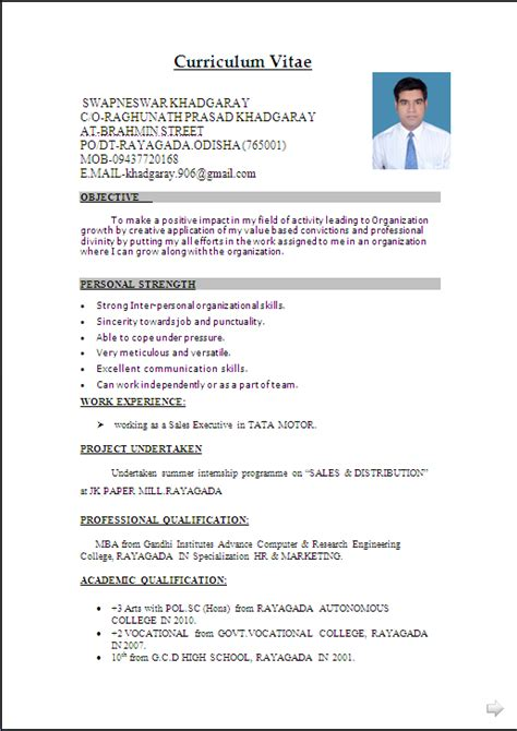 Mba Freshers Resume Sles For Finance by Resume Sle In Word Document Mba Marketing Sales Fresher Resume Formats