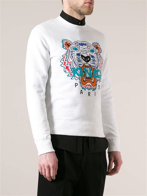 lyst kenzo embroidered tiger sweater  white  men