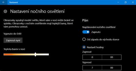 tipy windows jak nastavit nočn 237 osvětlen 237 ve windows 10