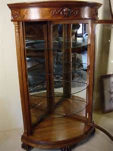 antique curio cabinets quarter sawn curved glass 1900