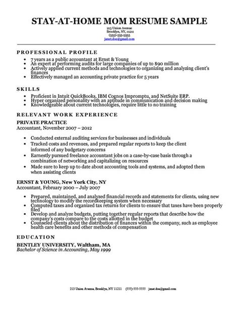 Resume Stay At Home by Stay At Home Resume Sle With Work Gaps Resume