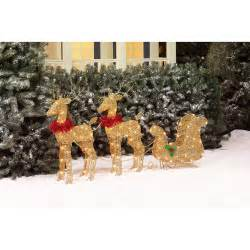 holiday time 30 quot two glittering gold deer christmas outdoor decorations walmart com