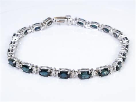 kt gold  carat diamondsapphire tennis bracelet catawiki