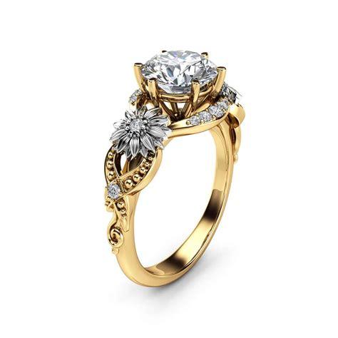 sunflower moissanite engagement ring 14k two tone gold