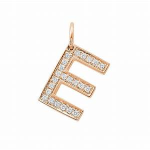 diamond letter e charm pendant With diamond letter charm
