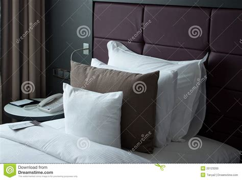 Small Bed Pillows by A Small Note On The Bed With Pillows Stock Photo Image