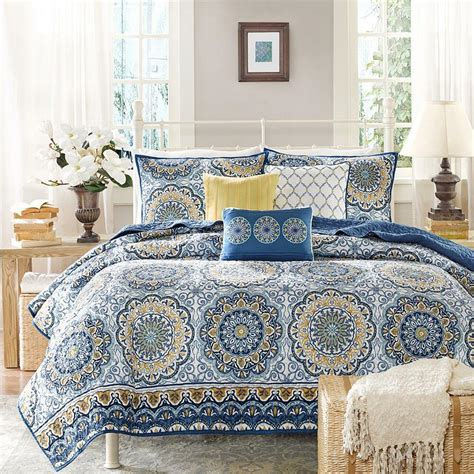 Yellow Quilted Coverlet by Beautiful Nautical Blue Yellow Gold Tropical
