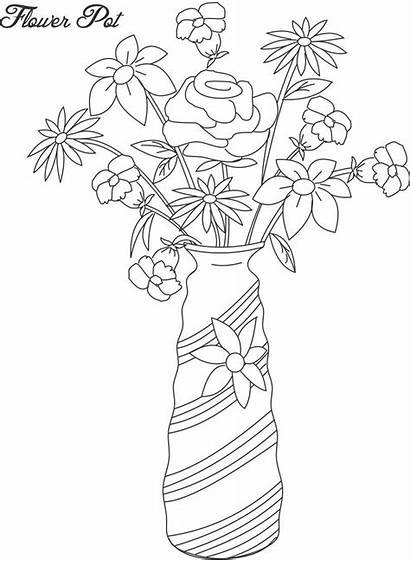 Flower Pot Flowers Coloring Pages Vase Printable