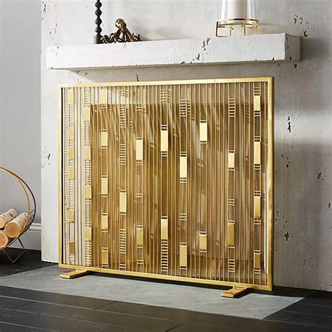 brass fireplace screens maclyn brass fireplace screen cb2