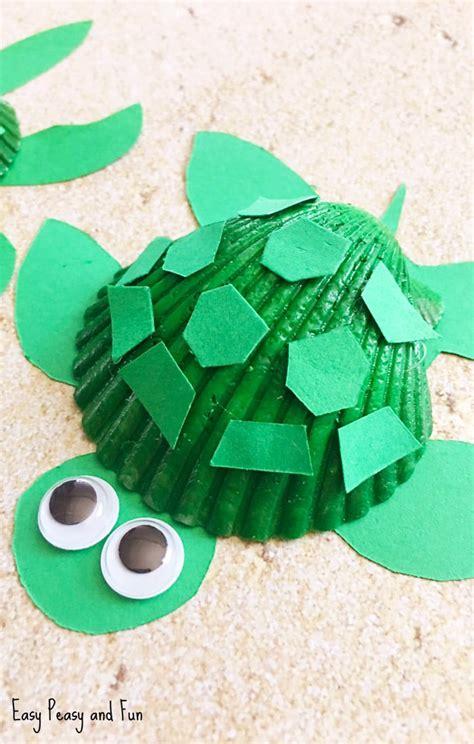 seashell turtle craft seashell craft ideas easy peasy  fun