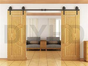 8ft 10ft 12ft vintage style strap industrial wheel double With bi parting sliding barn doors
