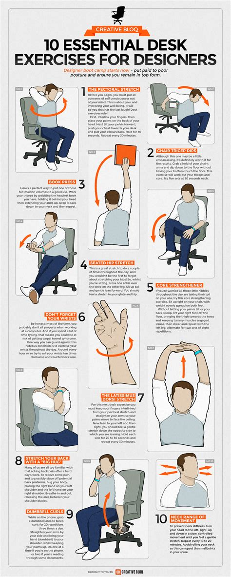 desk exercises at work desk exercises infographic 10 essential routines for