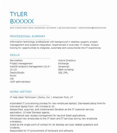Help Create Resume by It Help Desk Technician Resume Sle Livecareer