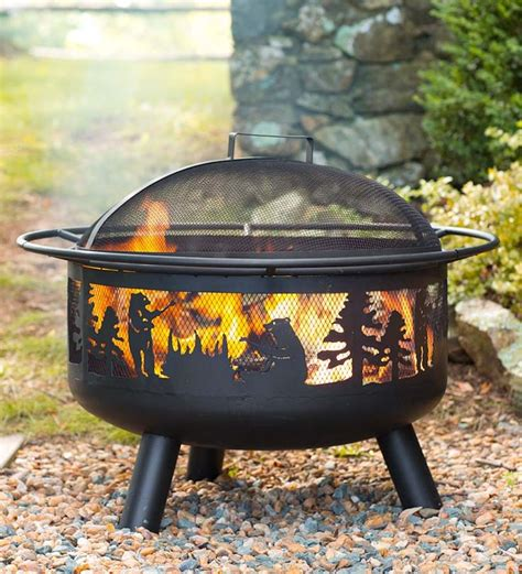 Bear Camp Fire Pit With Domed Spark Guard Design