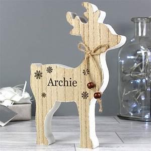 Personalised, Rustic, Wooden, Reindeer, Decoration