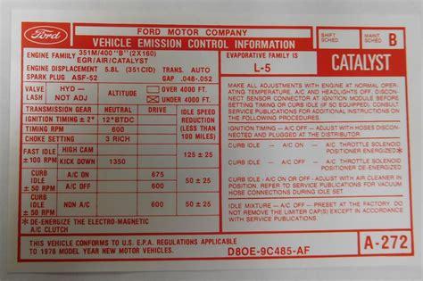 valve cover emission decal auto trans