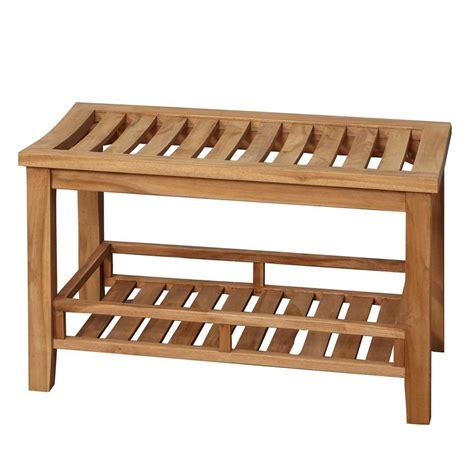 30 in teak rectangular slatted shower stool iss143 the