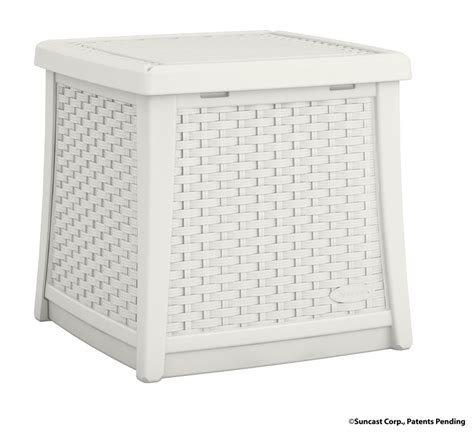 suncast deck boxes canada suncast side table deck box white the home depot canada