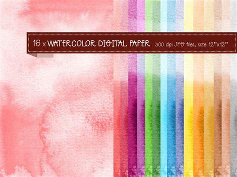 Watercolor digital paper in bright colors instant