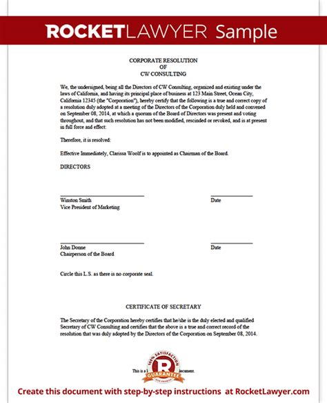 corporate resolution template corporate resolution