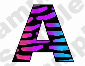 HOT PINK PURPLE BLUE RAINBOW ZEBRA ALPHABET LETTER NAME