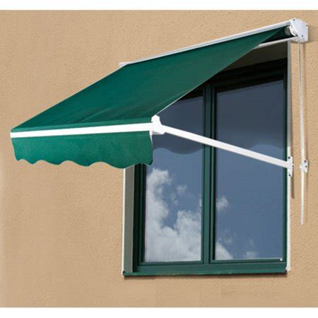 outsunny  ft drop arm manual retractable window awning