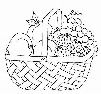 Fruit Coloring Basket Pages Printable