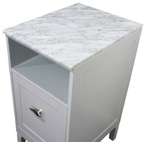 Marble Top Bathroom Cabinet by 16 In White Carrara Marble Top Bathroom Cabinets And