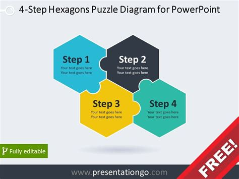 step hexagons puzzle diagram  powerpoint