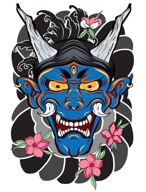 tatouage japonais de masque de demon pour le bras le
