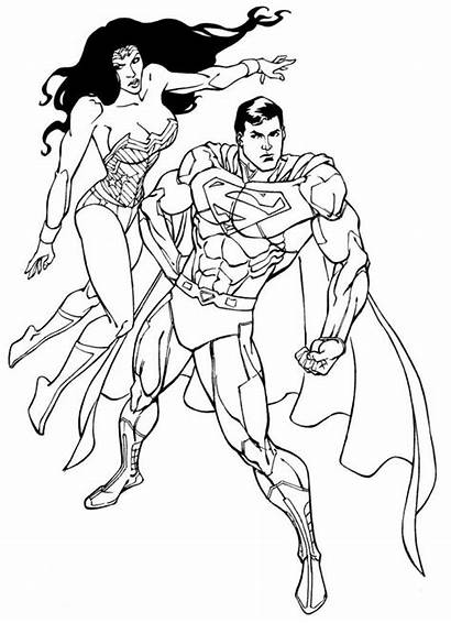 Superman Cartoon Coloring Wonder Woman Pages Easy
