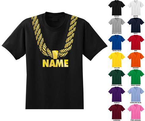 Custom Personalized Gold Chain Youth T-shirt You Choose The